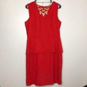 Red peplum office dress